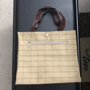 Brown Cream Plaid Tote with Comparment Bag